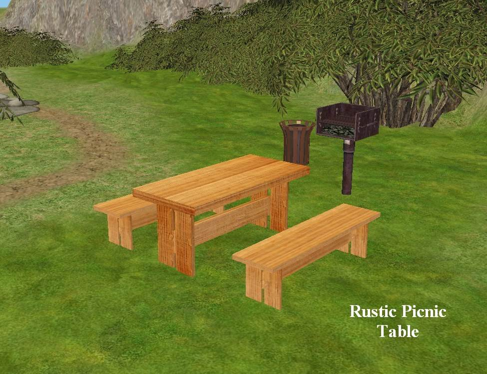 Rustic Picnic Table and Bench